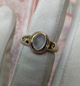 Beautiful Vintage 9ct Yellow Gold Moonstone + Diamond Cocktail Dress Ring Size M