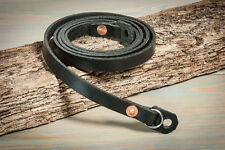 38in Hand made Black leather, copper riveted, camera strap