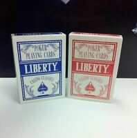 Set of 2 Liberty Poker Red & Blue Decks Casino Classics Finished Playing Cards