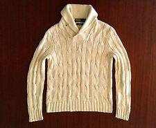 Ralph Lauren Cable Hand Knit Silk Linen Cotton Shawl Neck Ivory Jumper Men's S M