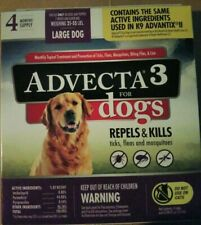 Advecta 3 For Large Dog 21- 55 lbs Flea & Tick Topical Treatment 4 Months New