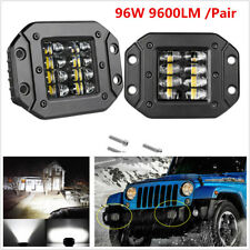 2x Aluminum Flush Mount LED Pods 96W 9600LM Spot Flood Combo Driving Work Lights