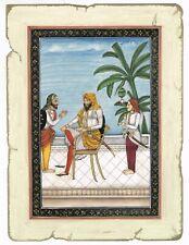 Miniature Portrait Of Maharaja Dhian Singh Sikh Painting - Gouache Art On Paper