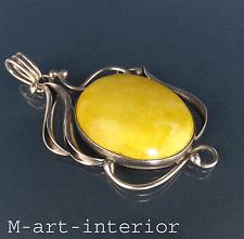 alter Bernstein Silber Anhänger im Jugendstil Egg Yolk real amber pendant 8,3 cm