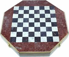 Holy Land Market Octagonal Shape Wooden Chess with Stones Inlay and Stone Chess