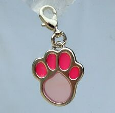 Pink PAW print charm dog collar necklace bracelet tag name ID pendant jewellery