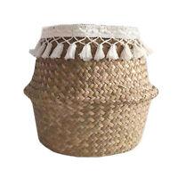 Straw Woven Flower Pot Vase Basket Home Garden Decorative Green Plant Holder Jar