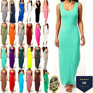 Womens Long Maxi Dress Ladies Stretch Jersey Plain Racer Muscle Back Vest 8-26