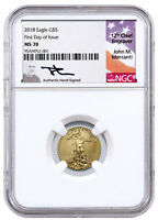 2018 1/10oz Gold American Eagle $5 NGC MS70 FDI Mercanti Signed Label SKU50796