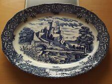 Vintage Heavy Large Blue & White Japan Serving Platter/Meat Plate Castle Design.