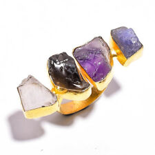 Natural Raw Gemstone Ring Size US 7.25, Gold Plated Brass Women Jewelry BR406