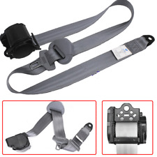 Gray 3-Point Retractable Auto Car Front Seat Belt Lap Safety Strap Buckle Kit
