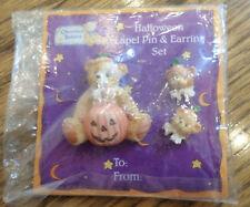 Cherished Teddies Lapel Pin & Ear Ring Set Halloween Bear Pumpkin