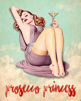 prosecco princess Wine Pin Up - Vintage Art Print Poster - A1 A2 A3 A4 A5
