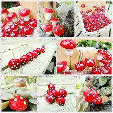 50pcs Mini Red Mushroom for Miniature Plant Pots Fairy Decor Garden Magic Craft