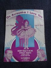 Antique Sheet Music Shirley Temple On Account A I Love You Baby Takes Bow 1934