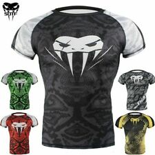 Venum 's MMA BJJ Rashguard Compression Short Sleeve Top Gym Fitness Fight Shirt