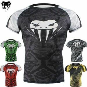 Venum 's MMA BJJ Rashguard Compression Short Sleeve Top