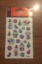1 Pack of Christmas Puffy Stickers - 1 Sheet - Snowman Penguin Star - NEW