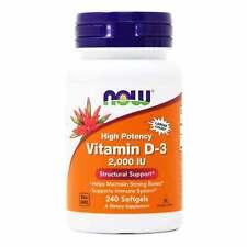 Vitamina D-3 2000IU 240/120/30 cápsulas blandas, Now Foods