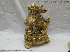 Chinese Fengshui brass Lucky wealth foo dog lion Kylin Unicorn beast Statue