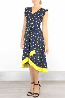 Womens Phase Eight Dress Navy Yellow Polka Dot Fit & Flare Wedding Occasion