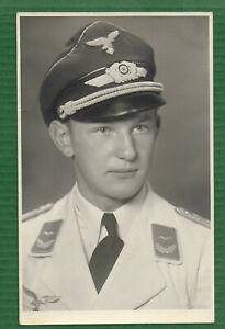 Foto Portrait Leutnant Luftwaffe Flieger WK2 - Postkartengröße - Agfa -