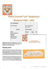 Len Stephenson Blackpool 1950-1955 rare original main signé découpe / carte