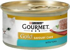 Gourmet Cat Adult Food Gold Savoury Cake Tuna Can Tin 12x85g