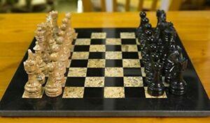 Marble Chess Set Handmade Unique Black Coral 16x16 Premium Quality Natural Stone