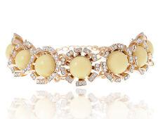 Lady Golden Crystal Rhinestonenshine Yellow Bead Stone Chain Fashion Bracelet