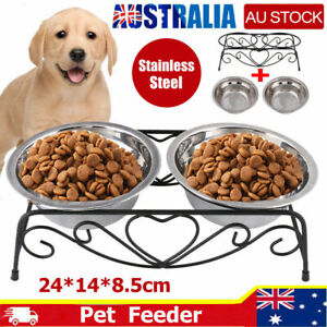 Double Elevated Pet Bowl Dog Cat Feeder Food Water Raised Fixed Stand Holder