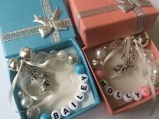 Puppy's First personalised Christmas Tree Ornament pink or blue 2018 dog charm