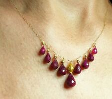 18ct Genuine Ruby briolette pear solid 18k 14k gold necklace pendant