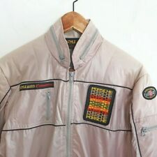 Vintage 1980s Style Auto PORSCHE Jacket Racing Windbreaker Tan Grey Small