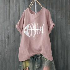 Women Casual Loose Blouse Fish Bone Print Loose Short Sleeve Shirt Funny Top CA