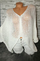 Italy Pulli Pullover Gr. 36 38 40 42 Vintage weiß Oversized blogger edel NEU