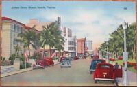 Miami Beach, FL 1940s Linen Postcard: Ocean Drive - Florida Fla - Art Deco