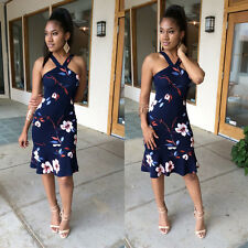 Womens Summer Royalblue Floral Strappy Ruffle Party Dress Wrap Chest Strapless