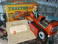 VINTAGE BATTERY OPERATED TIN METAL TRACTOR TOY 1950s IN BOX - AU STOCK !