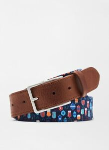 NWT Peter Millar Men's Big Friday Cotton-Blend Belt Made in Italy