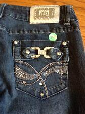 Montana crystal silver buckle women s denim blue jeans size 3/4 #28