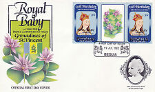 BEQUIA 1982 BIRTH OF PRINCE WILLIAM 50c GUTTER PAIR FIRST DAY COVER