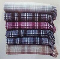 Cosy Soft Warm Sofa Chair Bed Car Travel Blanket Fleece Check Throw 100% Cotton