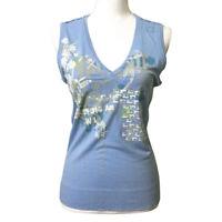 Diesel Graphic T Shirt Sleeveless Large Women's Lt Blue Domestic Print Knitting