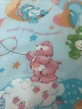 Vintage Care Bears Full Flat Bed Sheet Blue Good Friends Snuggle Up Fabric