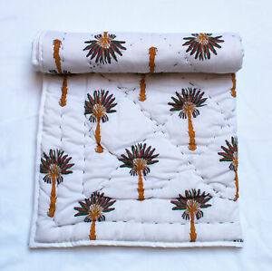 New Juniour Baby Bed Quilt Hand Block Palm Tree Printed Cotton Filled Coverlet