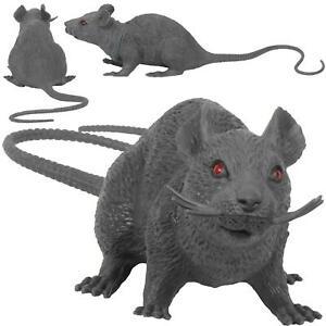 Gray Fake Rubber Mouse Rat Gag Joke Prank Squeaks When Squeezed Prop Halloween