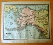 Antique Maps 1886 ALASKA & CANADA 11 1/2 x 13 1/2 Color