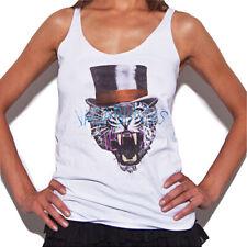 Cadenza Vagabundos Women's Tank Leopard Top Hat White Sleeveless Vest